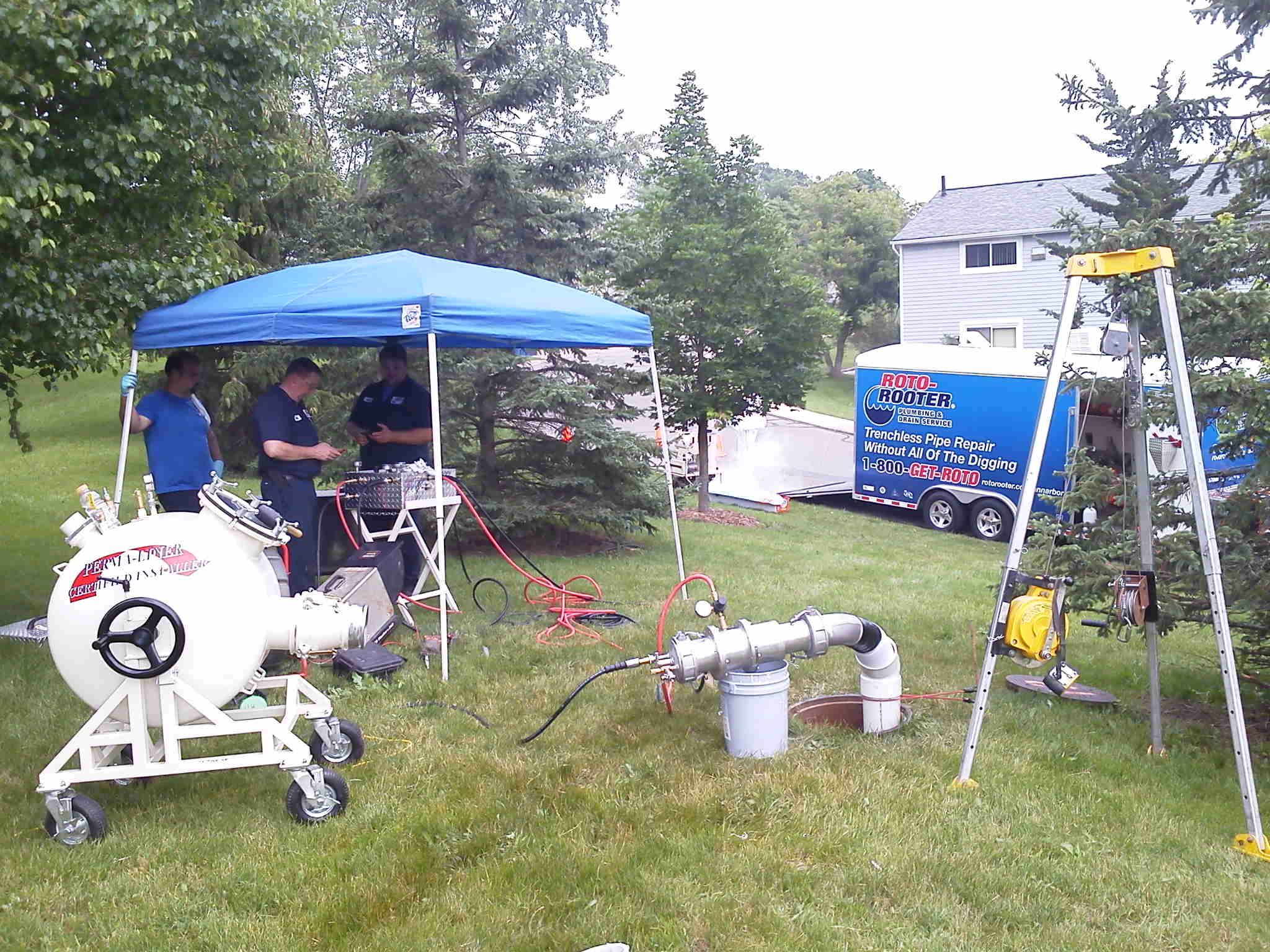 Not far outside of Detroit, Roto-Rooter rehabilitates a sewer pipe using pipe lining.
